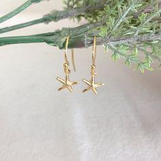 Dainty Starfish Earring 14K Gold Earring by StampedSchmuck on Etsy