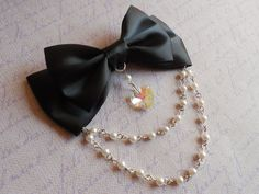 Hair clip or Brooch black bow with glass heart and white beads goth lolita