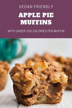 Sweet and moist apple pie muffins that taste like fall on a plate. They're sinfully delicious, vegan, and under 150 calories for the ultimate guilt free treat. #vegan #muffins #applemuffins #fallrecipes