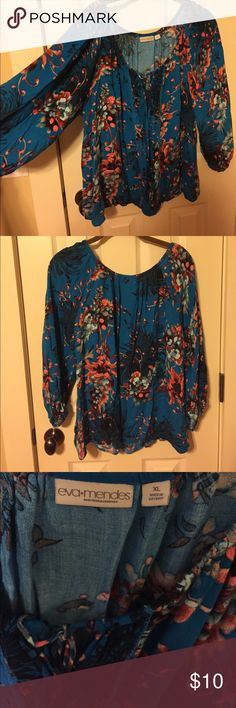 Blouse Adorable, vibrant colored blouse, size XL. This is out of the Eva Mendes collection from NY & Co. in great condition, 3/4 length sleeves. New York & Company Tops Blouses