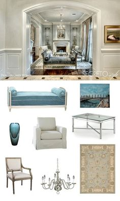A traditional living room with hints of soft blues and neutrals.