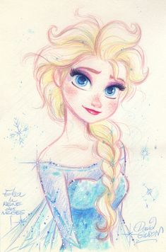 ELSA the Snow Queen from Disney's FROZEN by princekido Pretty amazing how many styles David Gilson draws in, and how he manages to nail the character in each and every one… Disney Pixar, Frozen Disney, Disney Fan Art, Disney And Dreamworks, Disney Love, Elsa Frozen, Disney Artwork, Disney Sketches, Disney Drawings