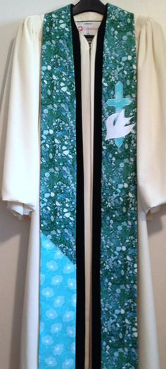 Clergy Stole Blue/Green Clergy Stole w/ Cross by PulpitStoles, $156.00