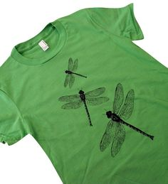 Dragonfly T-Shirt - Winged Insect American Apparel Shirt - (Available in sizes S, M, L, XL) on Etsy, $18.00