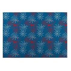 Kavka Designs Red/White/Blue Fireworks Indoor/Outdoor Floor Mat (8' X 10'), Size 8' x 10' (Rubber, Graphic)