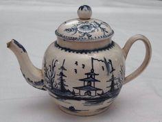 Antique C18th Leeds Blue & White Cannonball Pattern Pearlware Tea Pot c.1770