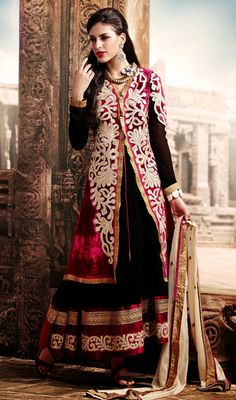 Red and Black Velvet Georgette Long Anarkali Suit Endow a timeless appeal decked in this red and black velvet georgette long Anarkali suit. The desirable lace and resham work a vital attribute of this attire. #GeorgetteLongAnarkaliSuit  #PakistaniIndianChuridarSuits
