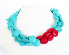 Turquoise Necklace - Asymmetrical Red and Turquoise Statement Necklace