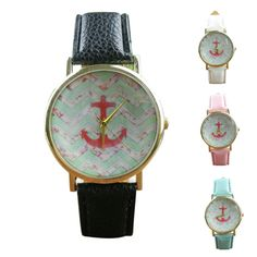 2016 Women Anchors Pattern Leather Band Analog Quartz Vogue Wrist Watch fashion creative design  Casual  Unique WristWatch #>=#>=#>=#>=#> Click on the pin to check out discount price, color, size, shipping, etc. Save and like it!