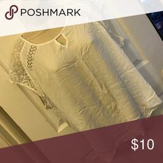 White blouse Thin soft material with a pretty lacy design on the shoulders ava and viv Tops Blouses