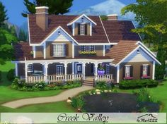 Basically just like the little oncove on the side of the house. Creek Valley is a diagonally house built on lot in Granite Falls featuring five bedrooms, three bathrooms and many extras. Found in TSR Category 'Sims 4 Residential Lots' Sims 2 House, Sims 4 House Plans, Sims 4 House Building, Home Building Tips, Sims 4 House Design, Building Ideas, Casas The Sims Freeplay, Sims 4 Family, Muebles Sims 4 Cc