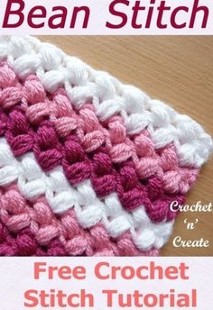 Free Crochet Tutorial Bean Stitch - A fun textured design that is great for any project, it is thick and warm and can be used for scarves, hats, cushions, blankets etc. Gives a look of slanting or leaning to one side, See my step by step instructions below on how to crochet this lovely stitch, I have written it in UK and USA formats. Stitches having knit materials have been regarded like a terrifying procedure by means of many. Knits in many cases are unpredictable. If perhaps improper twine… Crochet Stitches For Blankets, Crochet Stitches Free, Afghan Crochet Patterns, Crochet Basics, Free Crochet, Knitting Patterns, Pattern Sewing, Different Crochet Stitches, Crochet Pillow