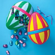 A blindfold, a stick, the promise of candy, and permission to hit something - what child DOESN'T love a pinata? And these egg-shaped candy coffers are easy enough to make in time for Easter 2013.