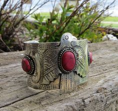༻❁༺ ❤️ ༻❁༺ Cowgirl Bling THUNDERBIRD EAGLE RED CUFF BRACELET BOHO Indian Gypsy ༻❁༺ ❤️ ༻❁༺ Cowgirl Bling, Bling Bling, Cross Jewelry, Silver Jewelry, Fashion Bracelets, Cuff Bracelets, Concho Belt, Fringe Bags, Southwestern Jewelry