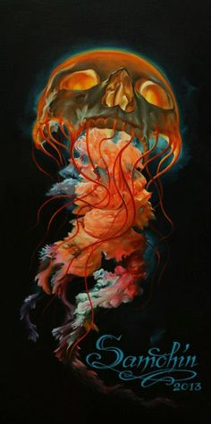 "Dmitriy Samohin >"" Skull-Jellyfish"" > Original > Oil painting , canvas on wood > 30x60 cm"