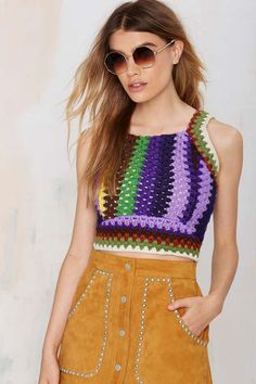 Here's a top made from repurposed vintage crochet afghans -- the construction on this is really interesting (After Party Vintage Mila Crochet Top from Nasty Gal)