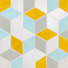 Make a gorgeous design statement in your home with our diamond pattern tile. Made by hand, this wall tile is perfect for making a colorful backsplash. Blue Yellow Grey, Yellow Tile, Yellow Walls, Cube Pattern, Yellow Pattern, Chevron Patterns, Tile Patterns, Isometric Cube, Yellow Wall Decor