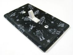 Light Switch Cover Little Gray and Black Robot Nursery Decor Kids Children Wall Art Decoration Bedroom Geekery Outer Space 996. $8.00, via Etsy.