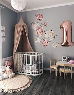 Watercolour Peony Flower Wall Stickers for Baby Girl Room by KidswallStore. Floral Wall Decal for Nursery, nursery wall sticker, Removable Flower Wall Decal. Wall vinyl stickers is the best baby room decor Mural Floral, Floral Wall, Baby Room Design, Baby Room Decor, Wall Design, Design Design, Boy Decor, House Design, Garden Design