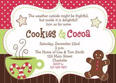 christmas party invitation cookies and cocoa digital file thebutterflypress paperbooks