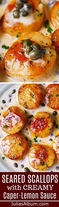 Seared Scallops with Creamy Caper-Lemon Sauce #seafood #shellfish #dinner #seafoodrecipes