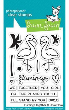 Lawn Fawn Clear Stamps 3In. X4in. Flamingo Together