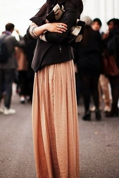 peach maxi / black jacket