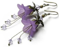 Romantic Lilac Floral Fantasy Swarovski Crystal Antique Brass Earrings, Long Dangle Violet Flower Earrings, Special Occasion, Gift for Women Paper Jewelry, Jewelry Crafts, Beaded Jewelry, Handmade Jewelry, Boho Jewelry, Earrings Handmade, Bead Earrings, Flower Earrings, Crystal Earrings
