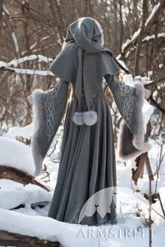 Wool Grey Fantasy Coat Heritrix Of The Winter snow princess white queen fur coat