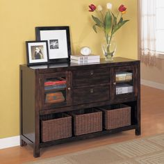 console table with baskets | Dickson Console Table with Basket Storage at Brookstone—Buy Now!