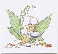 Ida Bohatta antique vintage print card Lily of the Valley flower fairy sprite washing bathing face
