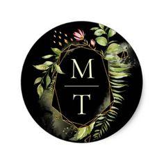 Green & Black Floral Wreath Wedding Monogram Classic Round Sticker - initial gift idea style unique special diy