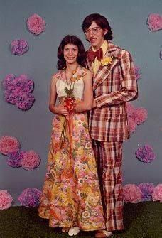 As a man said I sure am glad I didn't go to the Prom in the 1970's. Plaid suit!