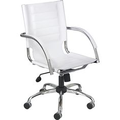 Work in style with this faux leather office chair. The chrome metal chair is perfectly accented by the white polyurethane man-made leather. The seat height adjusts from 18 to 21 inches, and upholstered arms and swivel-tilt mechanism add to your comfort.