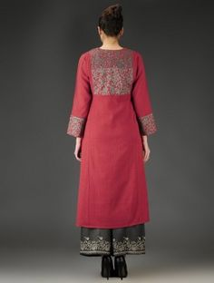 Red-Grey Patchwork & Embroidered A-Line Kurta