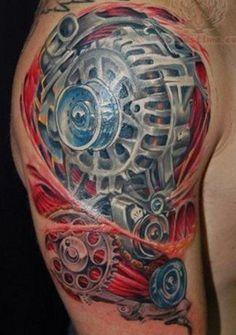 Awesome Mechanical Tattoo On Arm #bio-mechanical #tattoo #mechanical