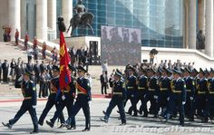 Officers of the Mongolian Border Guard marching through Sukhbaatar Square in Ulaanbaatar at the 2012 Mongolian Flag Day Parade.