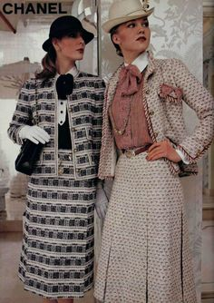 this picture was from 1979 and designed by Chanel. I think that the long skirt, the button-up shirts and the texture on these outfits are very classy and unique because of also the patterns.