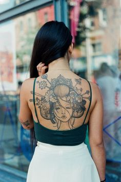 I really really love her tattoo omg  Beautiful Audrey Kawasaki tattoo  by Evelyn Bacopulos, Toronto - tattoosbyevelyn.tumblr.com