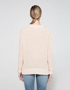 Chunky sweater in Nude. Crew neckline. Interlacing at front with small cut-out accents. Ribbed neck, cuffs and hem. Casual fit.   • Rib knit • 60% cotton, 35% acrylic, 5% polyester • Dry clean