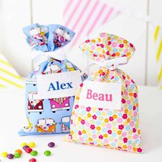 Mini guests will be delighted with these personalised party gift bags from Tattybogle