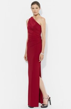 Winter Wedding - Bridesmaid Dresses or a lovely Lauren Ralph Lauren Embellished One Shoulder Jersey Column Gown available at #Nordstrom for the reception!  @waresthemore #eveninggown #bridesmaid