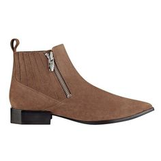 Sigerson Morrison Bambie Bootie ($350) ❤ liked on Polyvore featuring shoes, boots, ankle booties, ankle-boots, taupe, faux-fur boots, short heel boots, low heel ankle boots, bootie boots and beatle boots