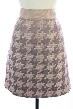 ANN TAYLOR LOFT Pink Gray HOUNDSTOOTH Tweed PENCIL Straight Dress SKIRT L 10
