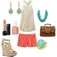 Coral and Turquoise, created by hwaldt on Polyvore