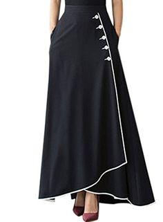 Fashion Black Piped Button Embellished High Waist Maxi Skirt - Fashion Black Piped Button Embellished High Waist Maxi Skirt The Effective Pictures We Offer You Ab - Maxi Skirt Style, Pleated Midi Skirt, Dress Skirt, Mode Outfits, Skirt Outfits, Ankle Length Skirt, High Waist Skirt, Long Maxi Skirts, Black Girl Fashion