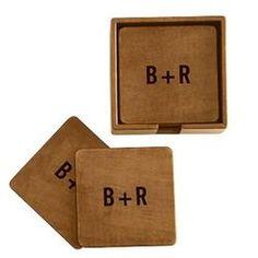 9th Wedding Anniversary Gift Idea Modern Leather Monogram Set Of 6 Rustic Boxed