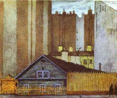 """Mstislav Dobuzhinsky:  """"A Cottage in St. Petersburg"""""""