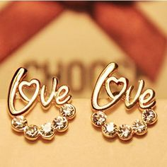 Find More Stud Earrings Information about 2015 New !!! Fashion Fine Jewelry Gold Plated Rhinestone Romantic Sweet Temperament Small LOVE Stud  Earrings For Women E 39,High Quality earring set,China earring holder Suppliers, Cheap earrings zirconia from Sam & Jewelry Company on Aliexpress.com