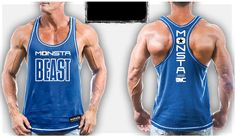 Mens Workout MONSTA Bodybuilding Gym Clothing Unleash Beast Racerback Tank Top #MONSTA #GraphicTankTop